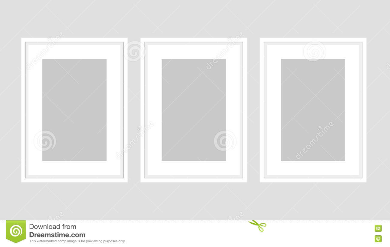 Wall Art Poster Set Of Three White A4 Frames. Stock Vector ...