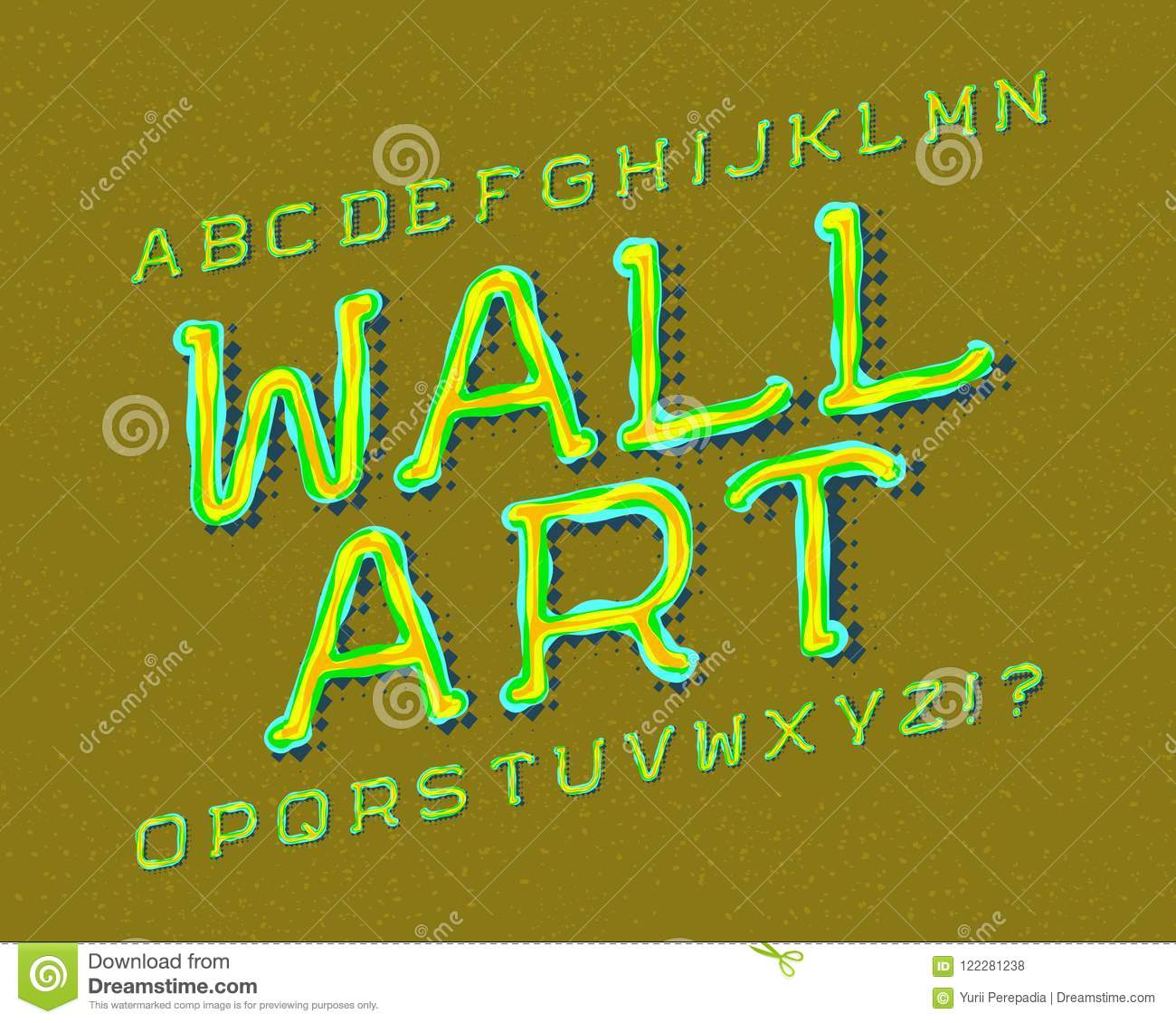 Wall Art Typeface. Graffiti Font. Isolated English Alphabet Stock ...