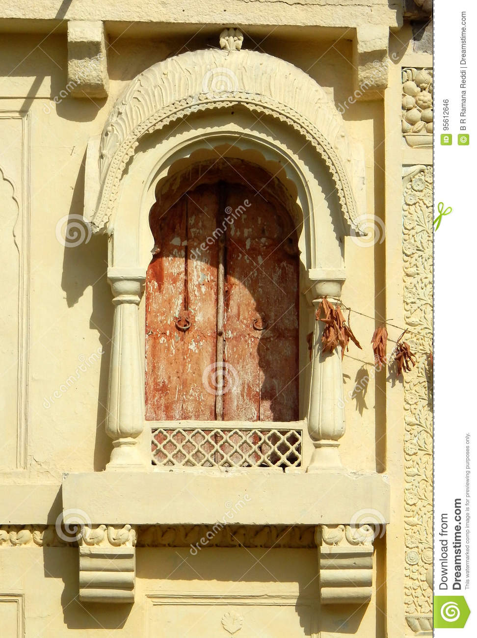 Wall Art And Windows Architecture Of 200 Year Old Temple Stock Photo ...