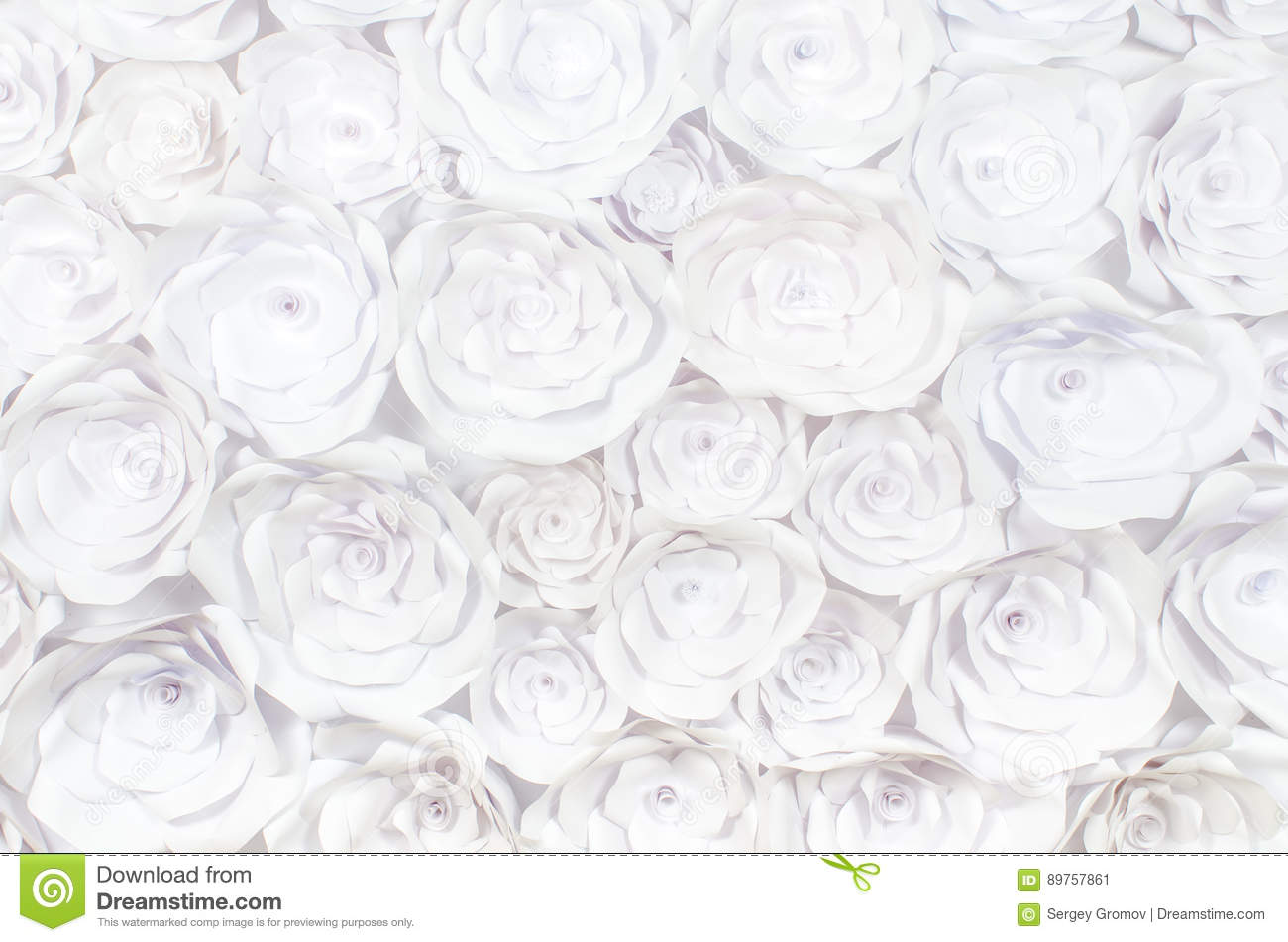 Wall With A Background Of Paper Flowers Handmade Craft Creative
