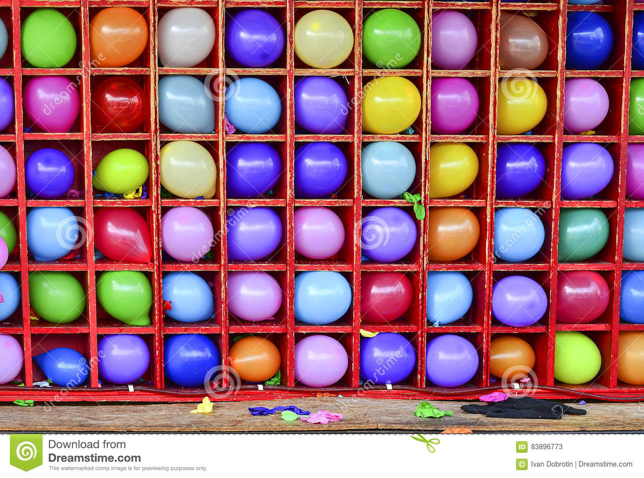 Wall Of Balloons Some Popped Carnival Dart Game Stock Image
