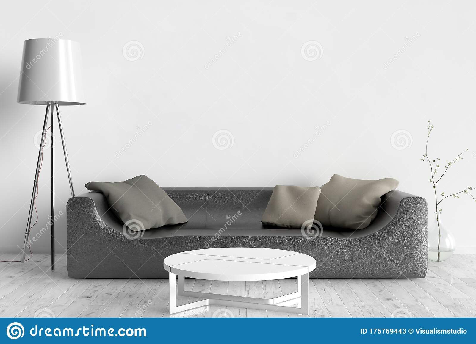 Wall Bed And Chair Modern Mid Century Bedside Table And White Bed On White Wall Background Stock Image Image Of House Lamp 175769443