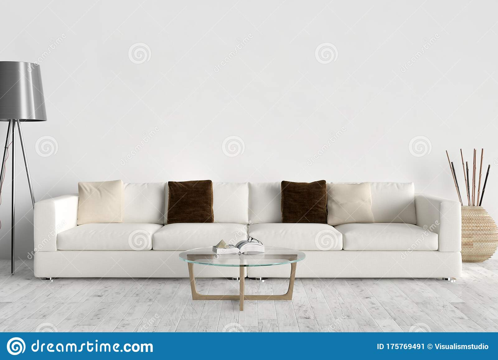 Picture of: Wall Bed And Chair Modern Mid Century Bedside Table And White Bed On White Wall Background Stock Image Image Of Bedchamber Empty 175769491