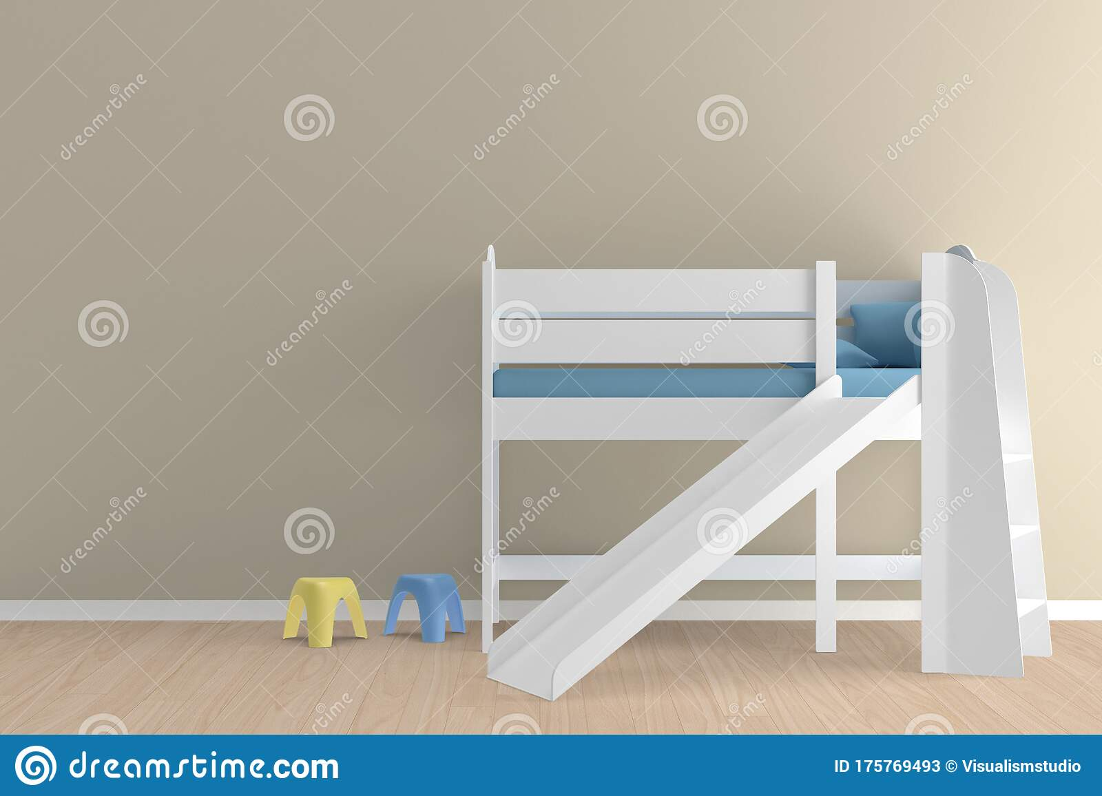 Picture of: Wall Bed And Chair Modern Mid Century Bedside Table And White Bed On White Wall Background Stock Image Image Of Carpet Architecture 175769493