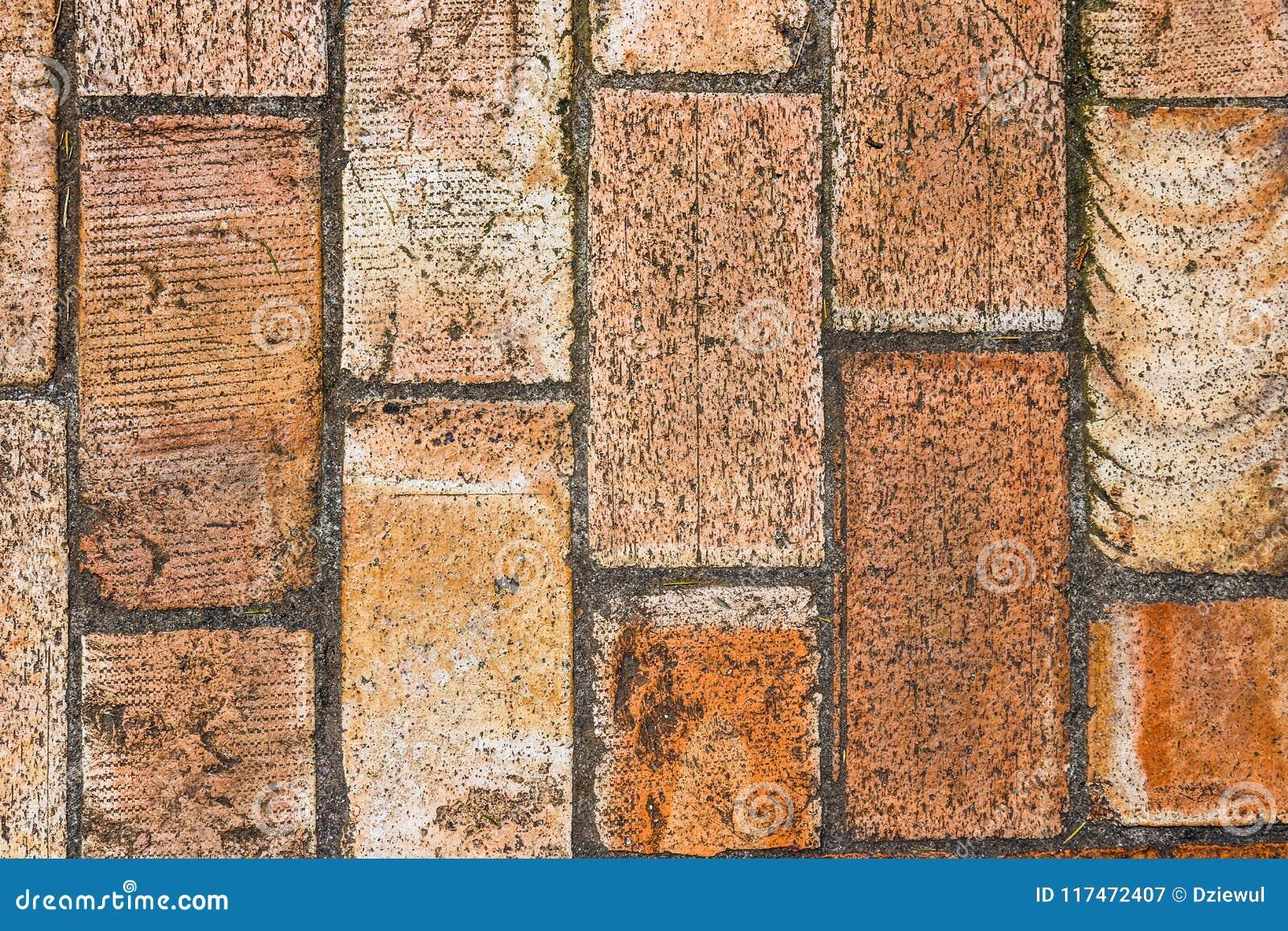 Wall of big brown bricks