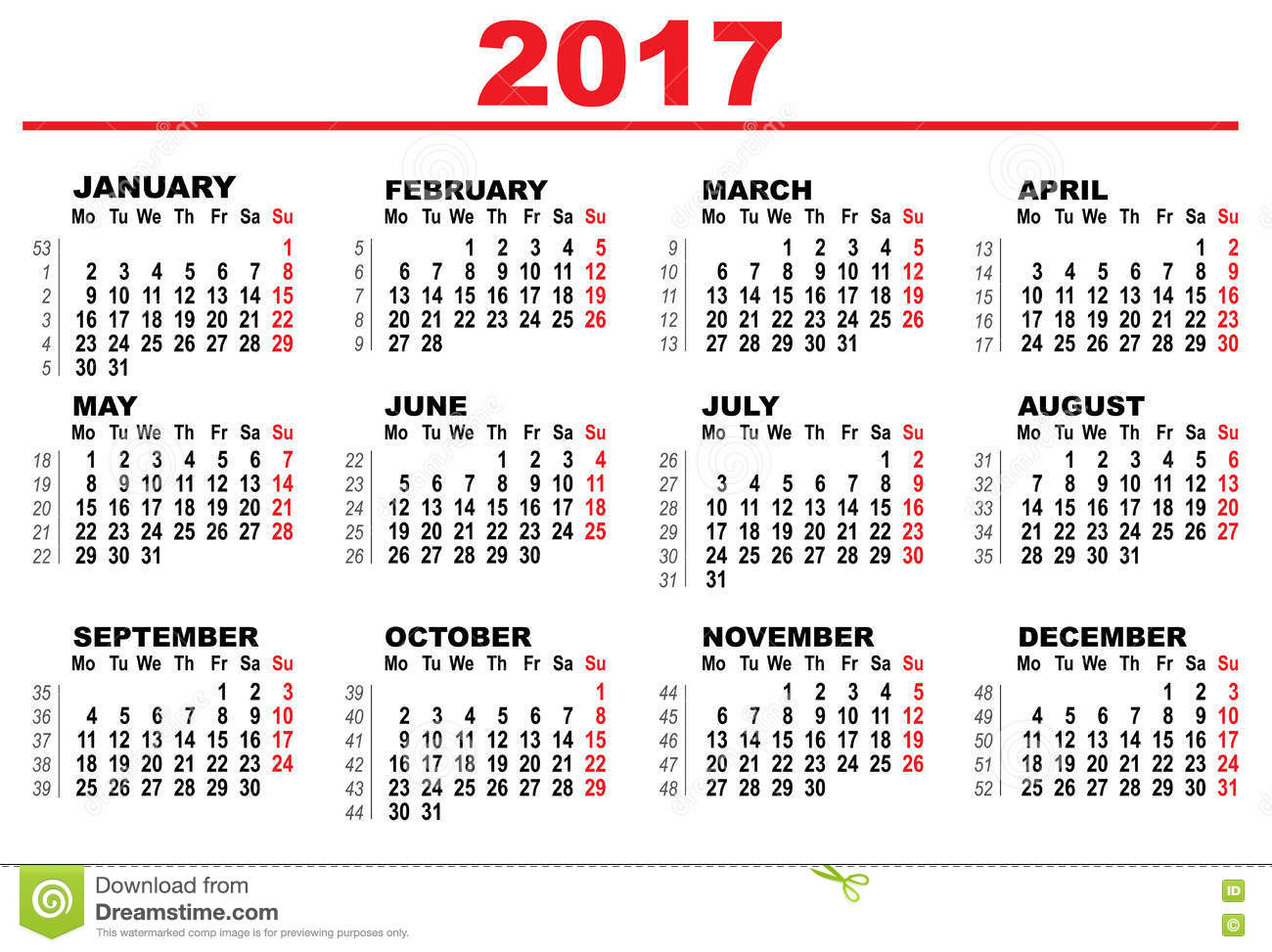 Wall Calendar 2017. First day Monday. Illustration in vector format.