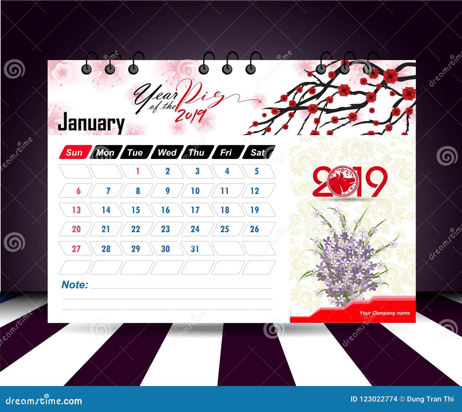 Wall Calendar January 2019 January 2019. Wall Calendar Planner Template. Vector Design Print
