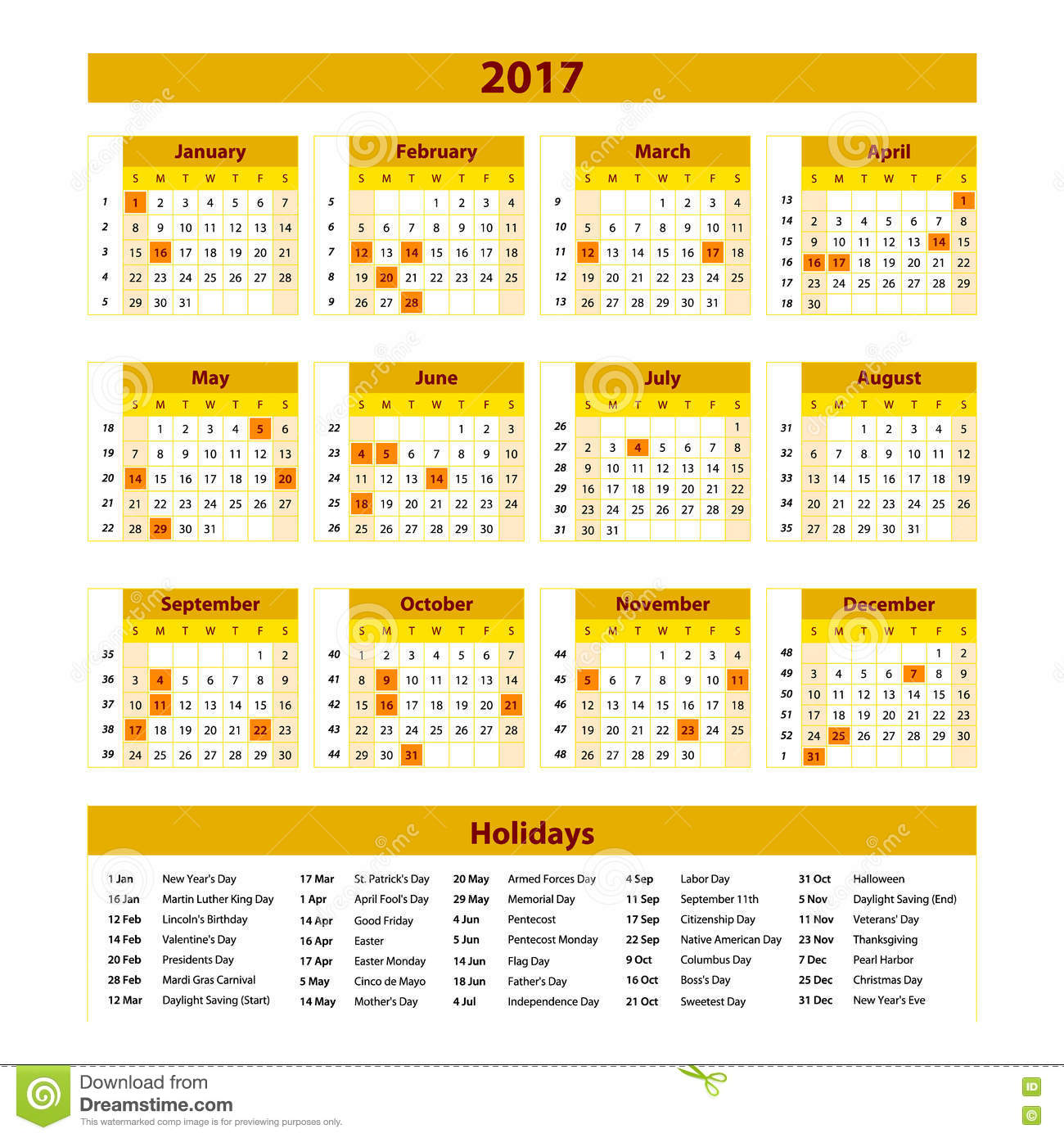 Wall Calendar Planner For 2017 Year. Vector Design Print Template ...