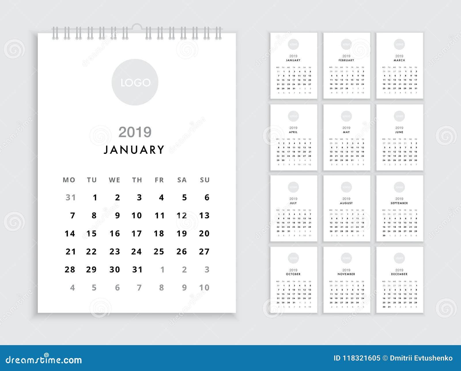 wall calendar 2019 template
