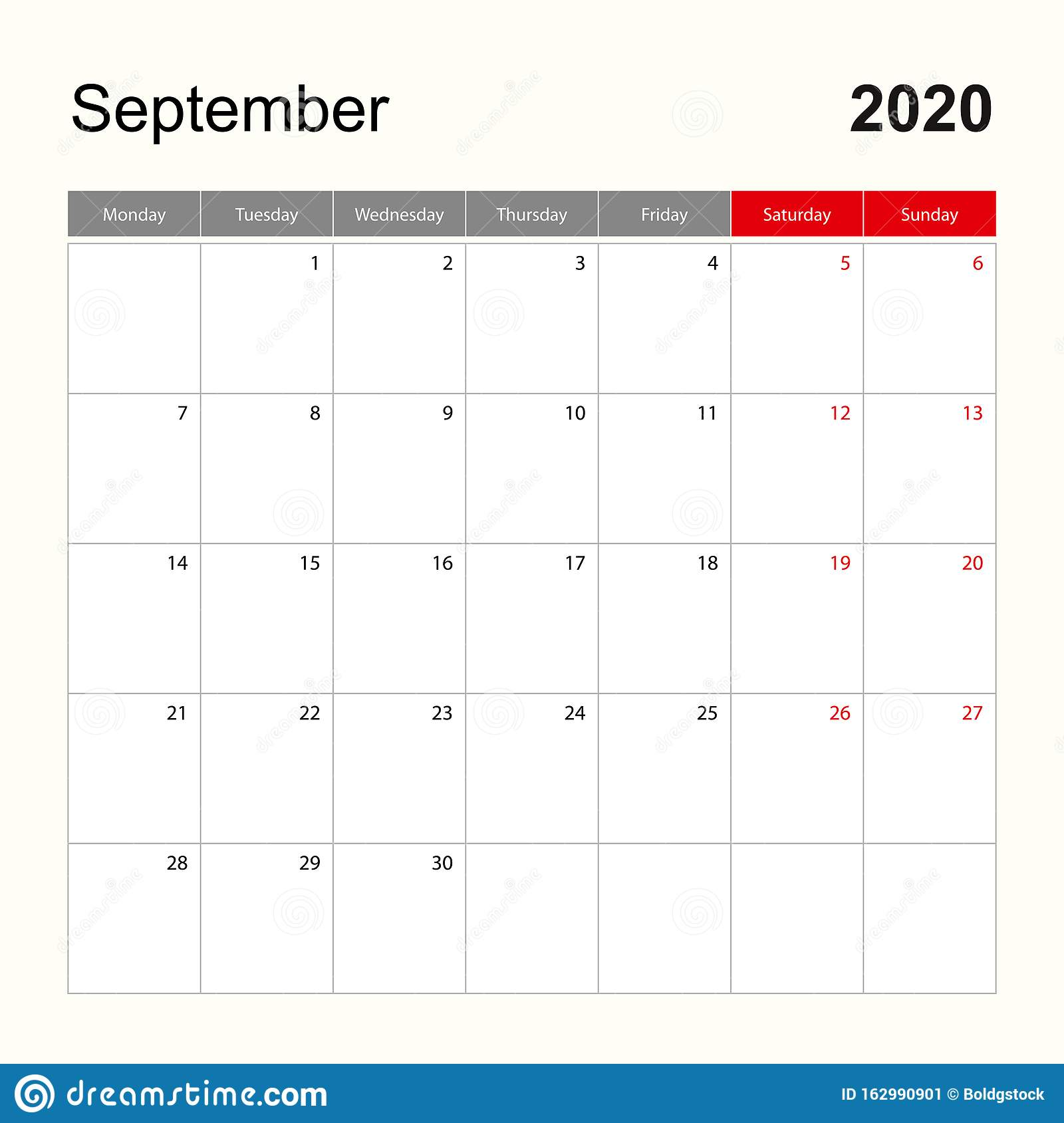 Wall Calendar Template For September 2020 Holiday And Event