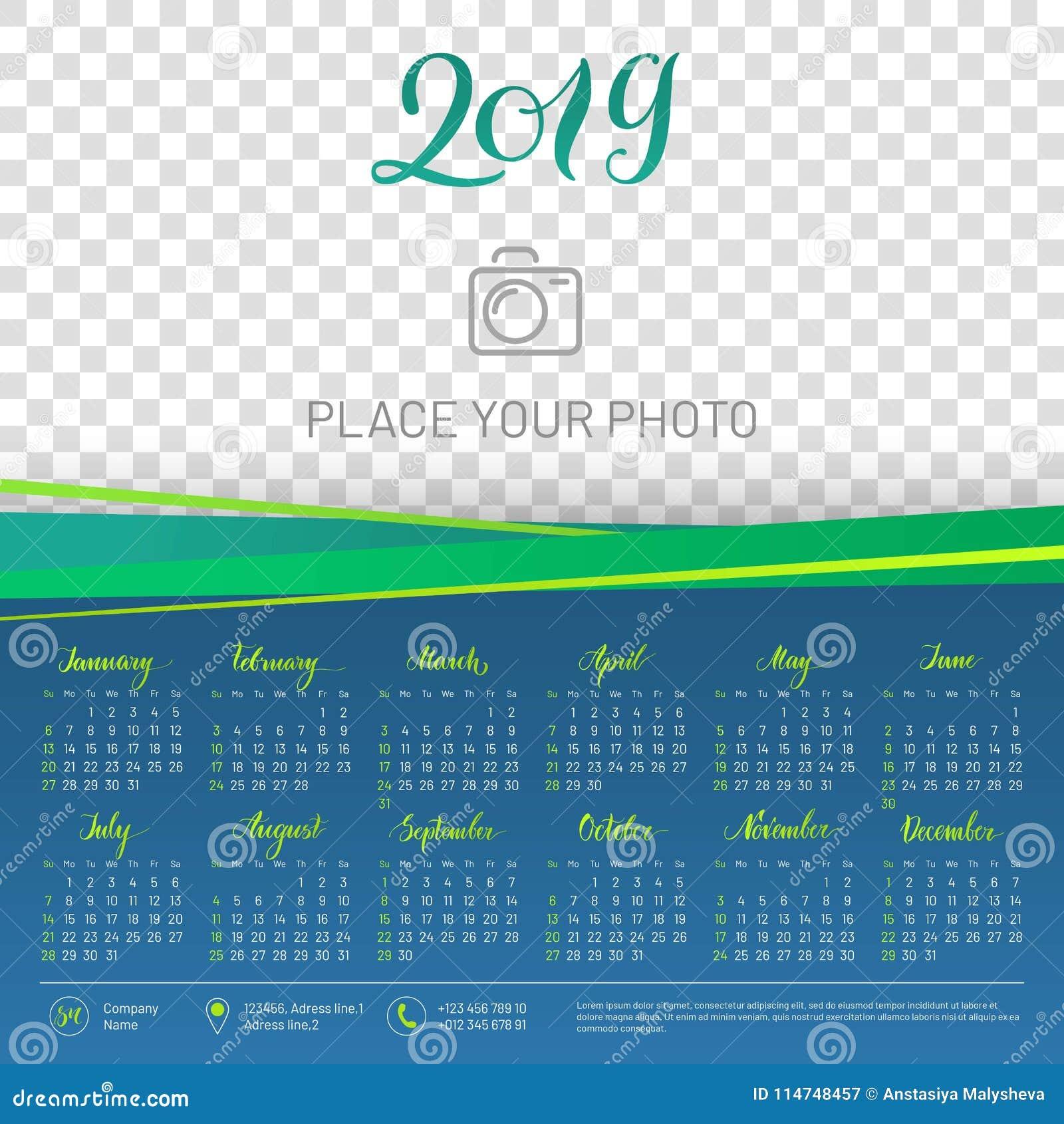 wall calendar 2019 year copy space atop