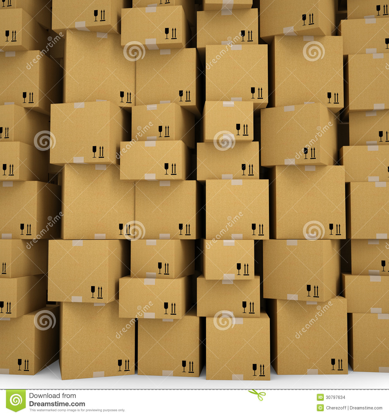 The Wall Of Cardboard Boxes Stock Illustration Image