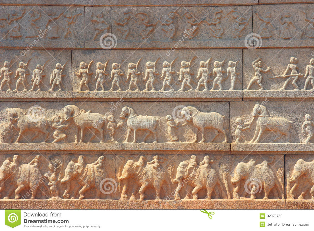 Wall with a carved relief the indian army stock image