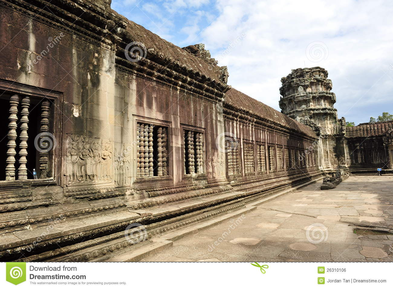 Wall with carvings at angkor wat temple royalty free stock