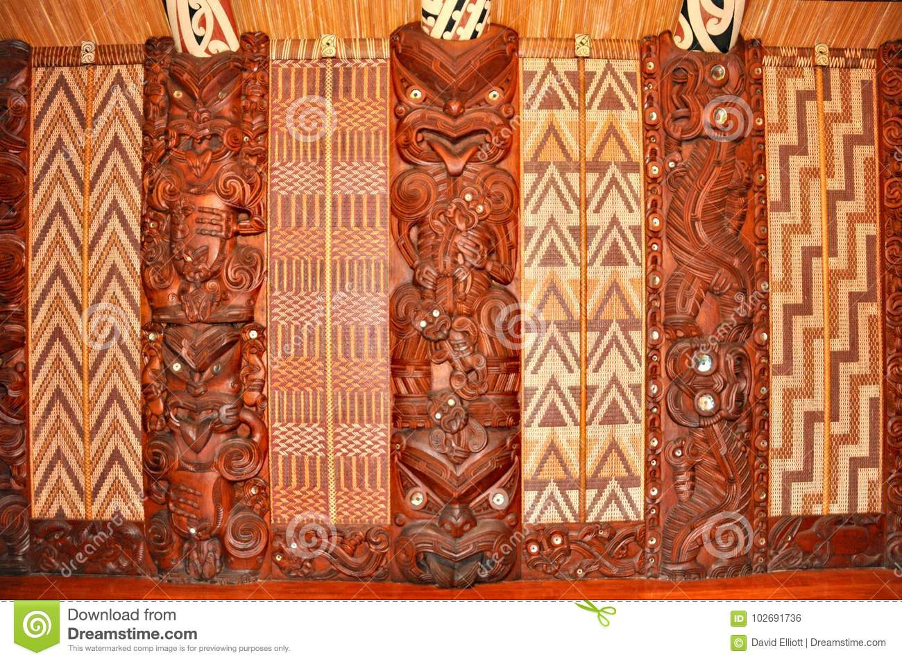 Maori Meeting House: Wall Carvings At A Maori Meeting House Editorial Photo