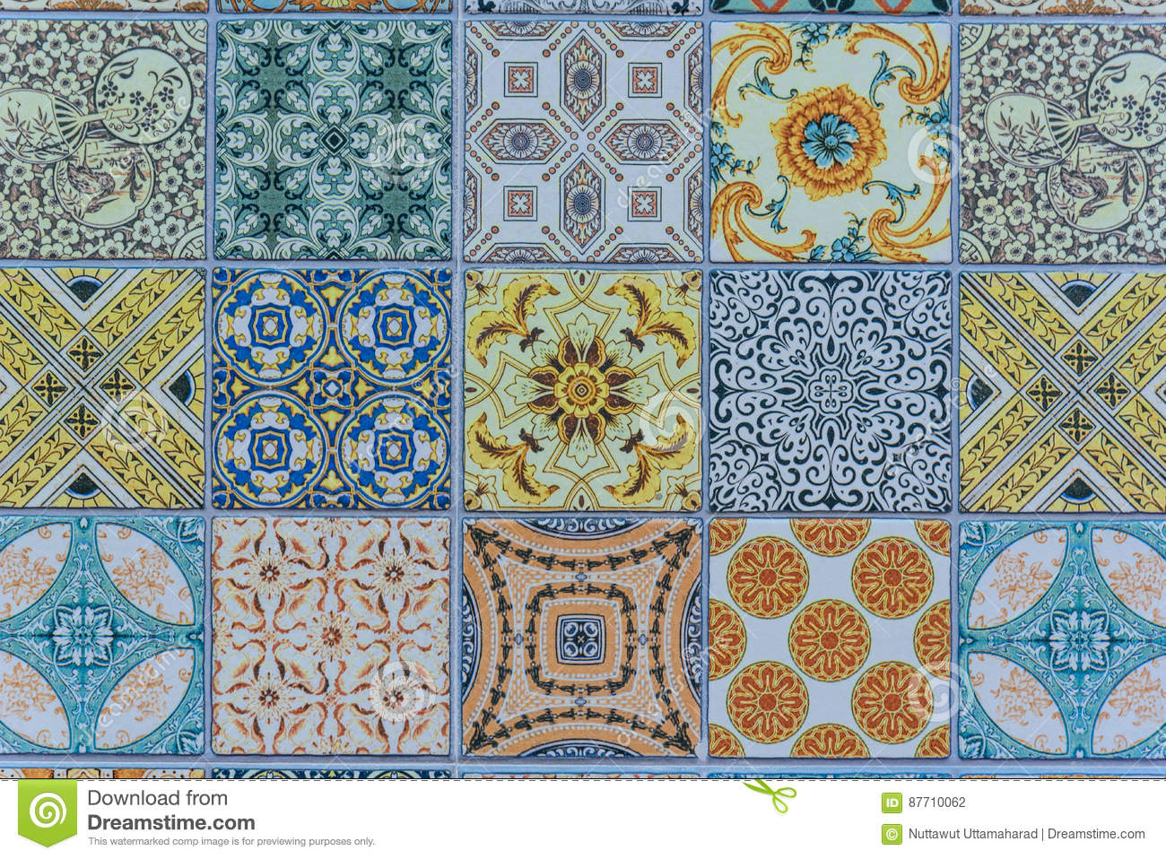Wall Ceramic Tiles Patterns Mega Set From Thailand Stock Photo ...
