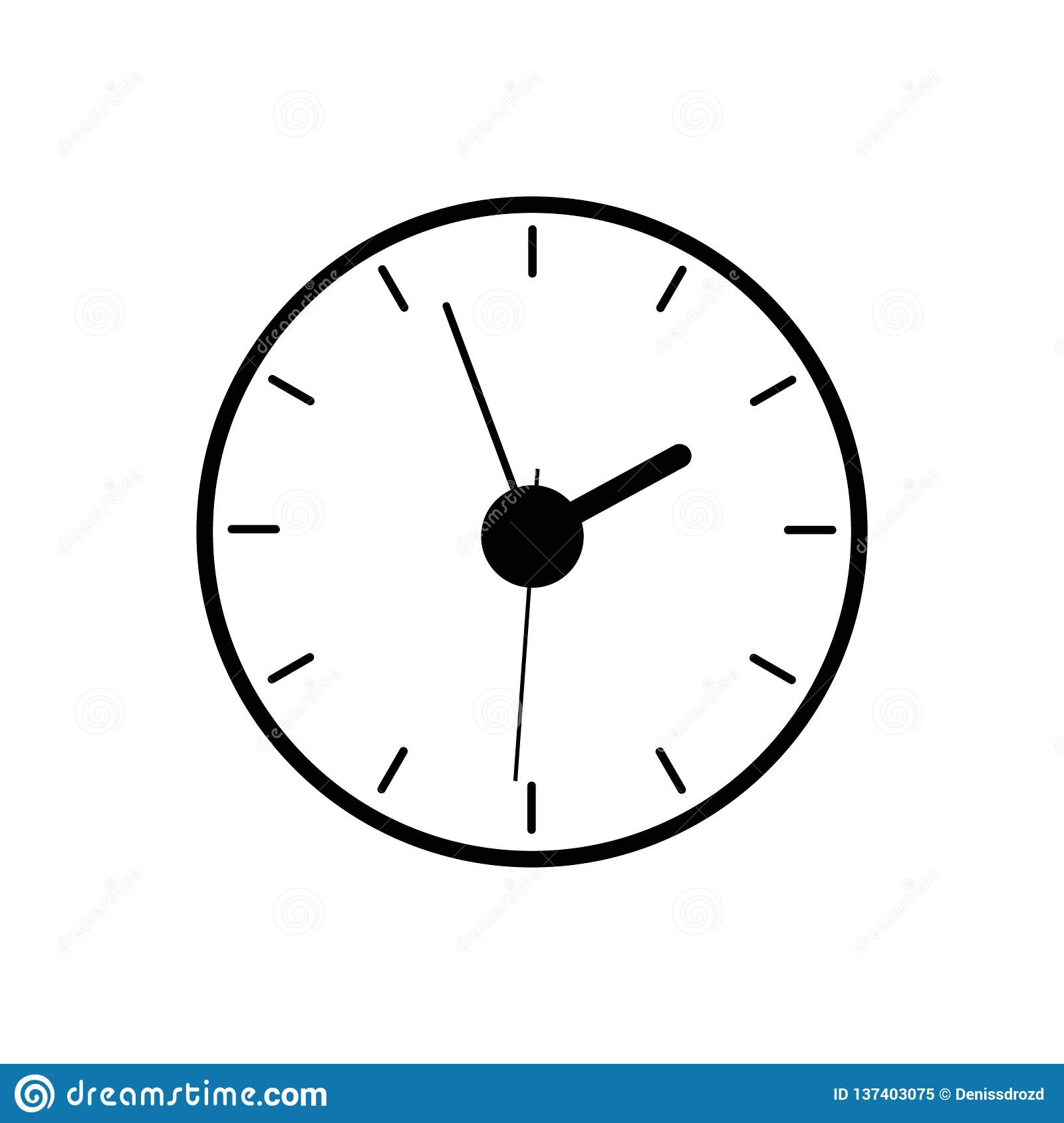 Wall Clock Icon, Watch Timer Icon Vector  Stock Illustration