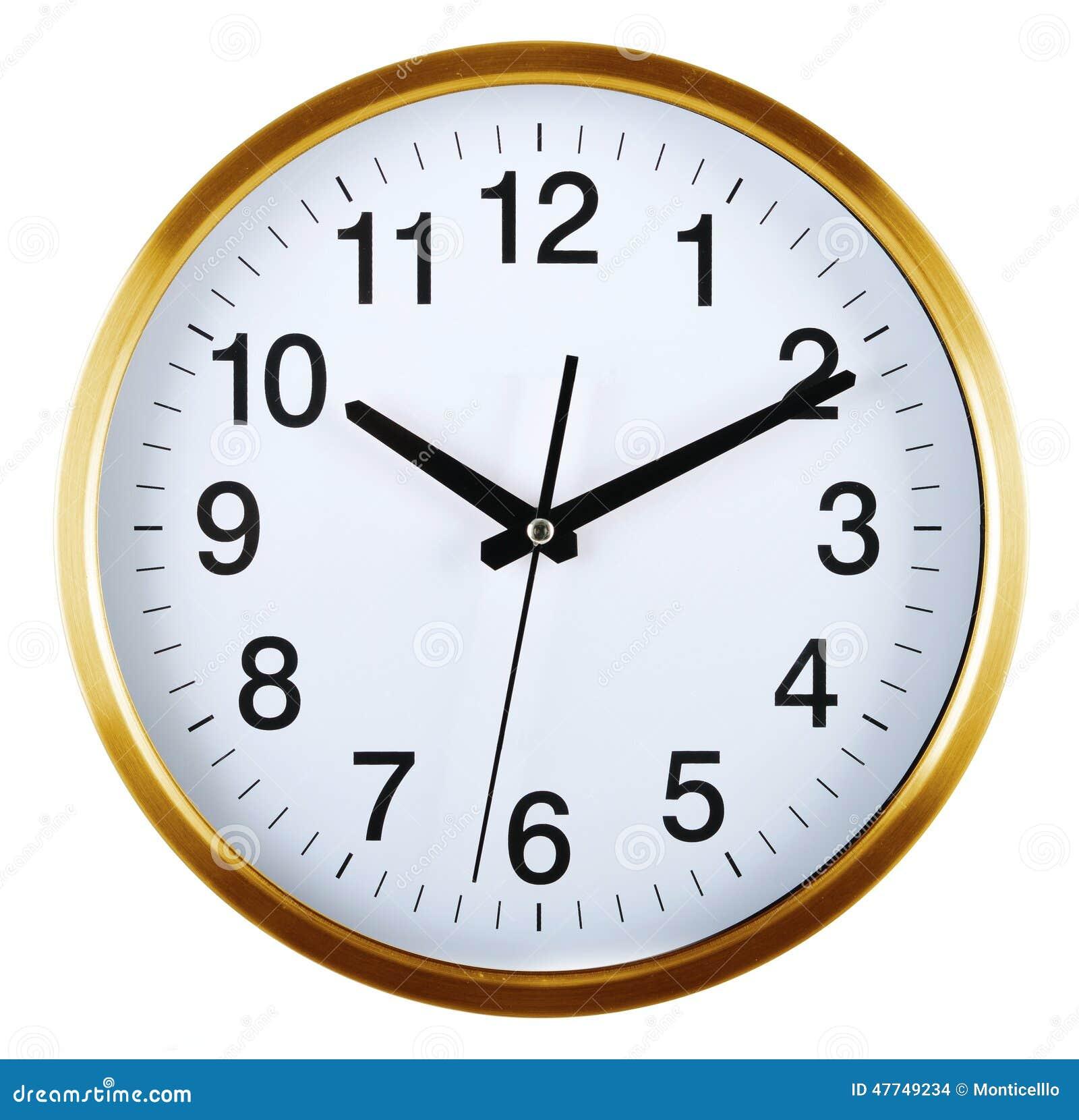 Wall Clock Isolated On White Ten Past Ten Stock Photo