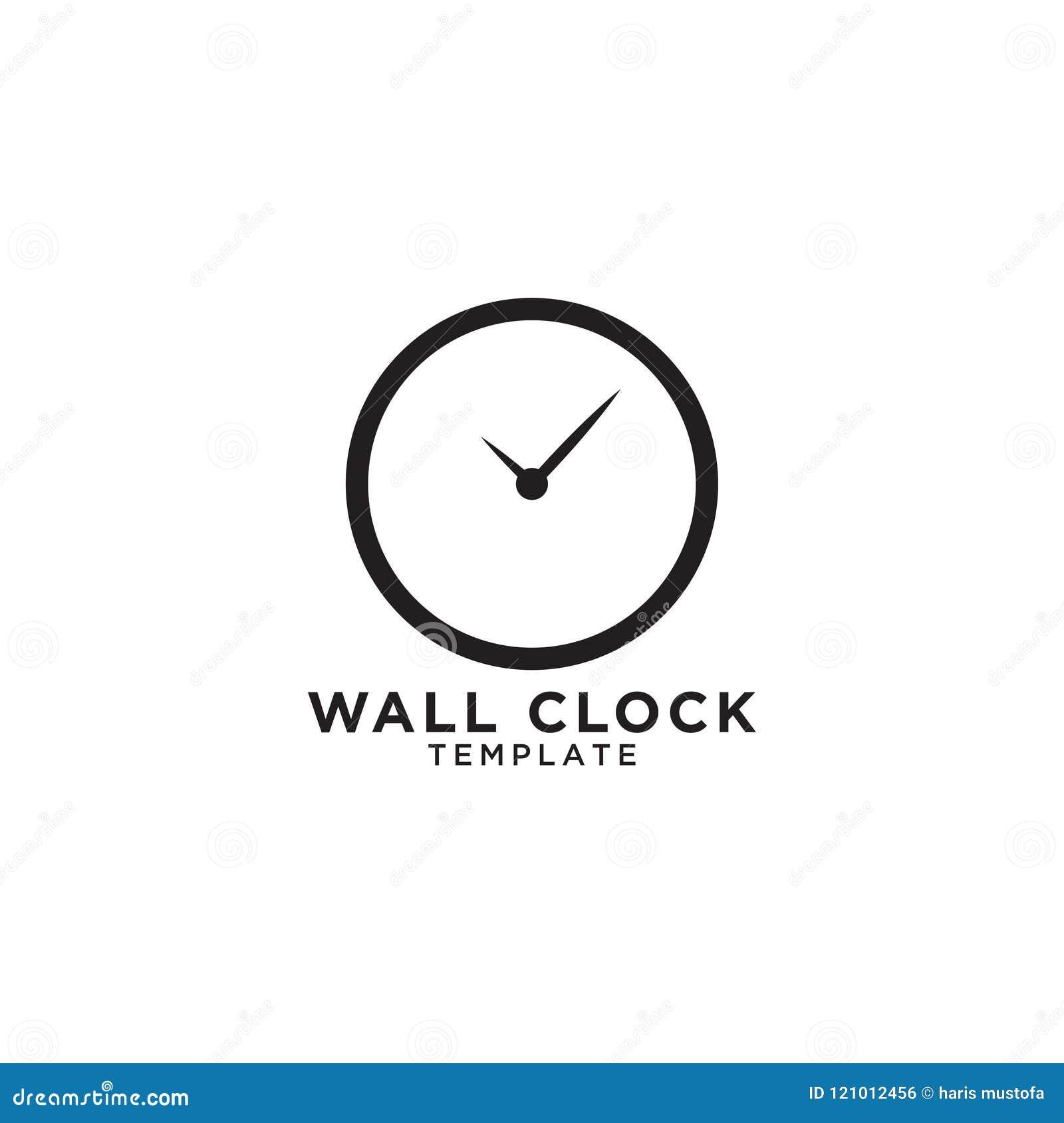 Wall Clock Logo Design Template Stock Vector - Illustration of ...