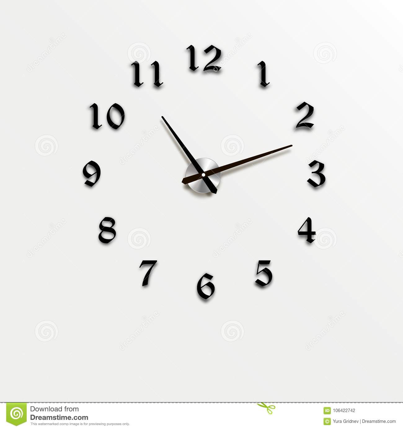 Wall Clock Office. Template Design In Closeup. The Layout For ...
