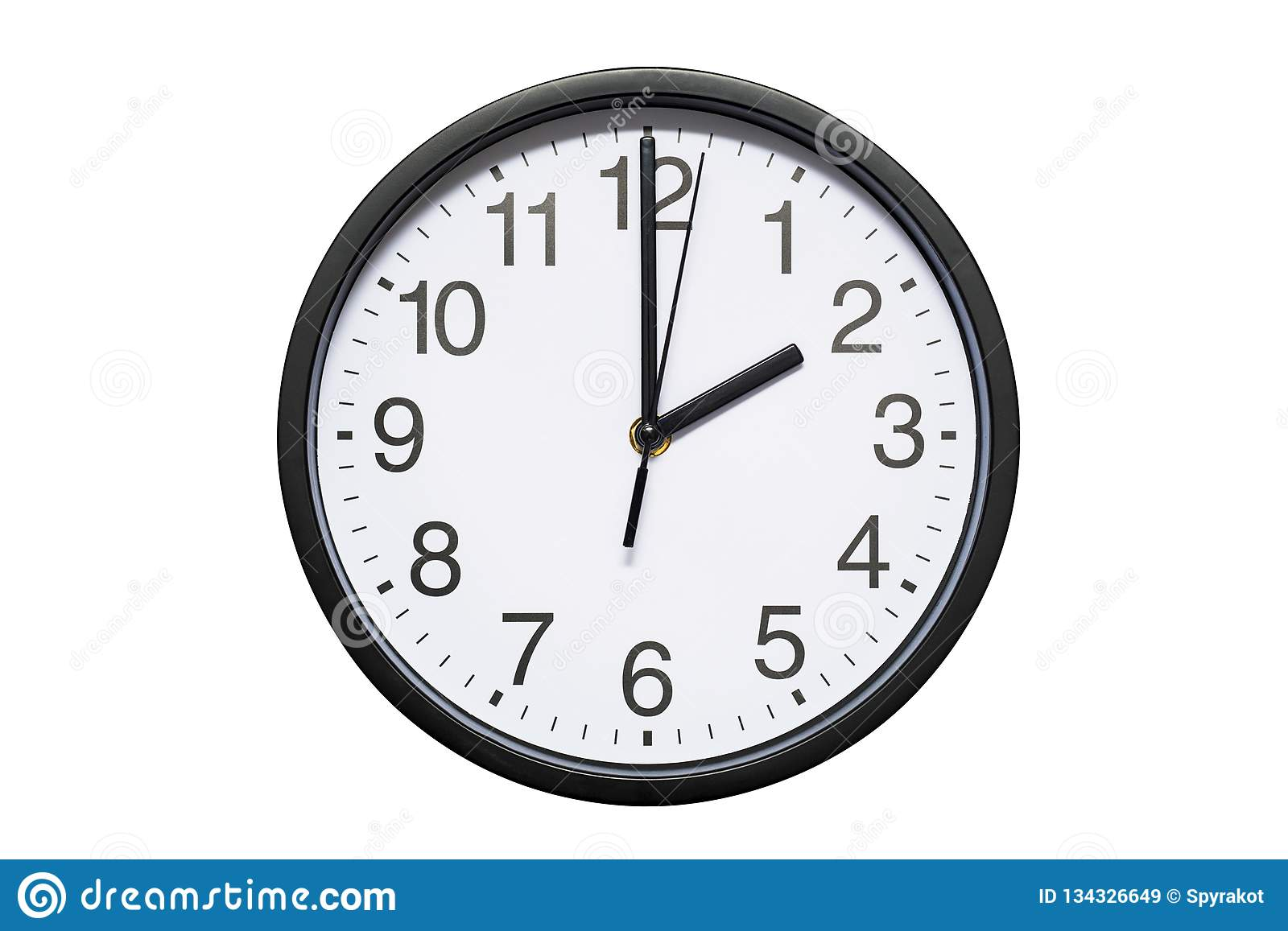 Wall clock shows time 2 o`clock on white isolated background. Round wall clock - front view. Fourteen o`clock