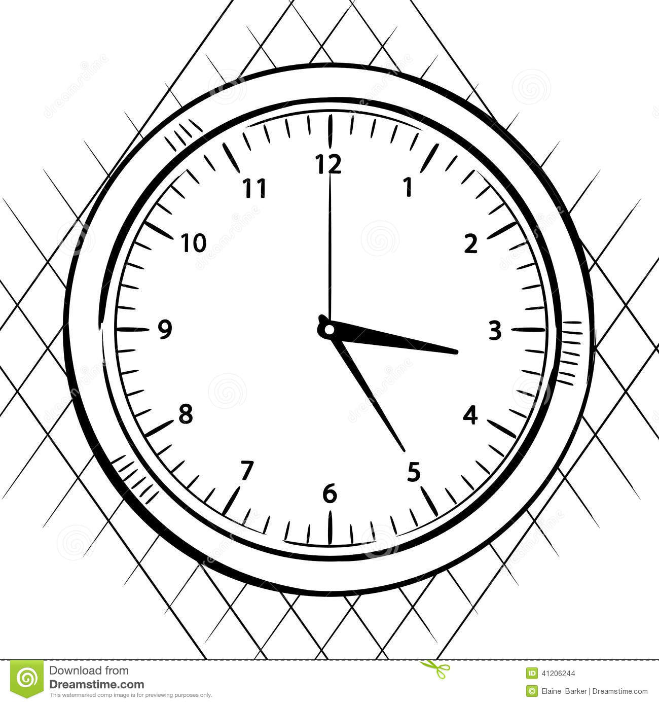 Line Drawing Clock : Wall clock sketch stock illustration of