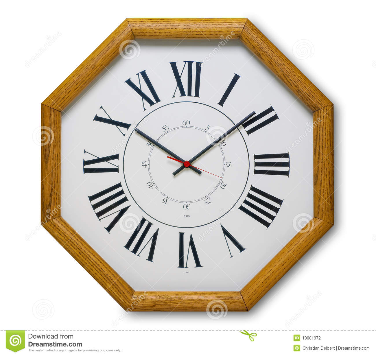Wall clock in wood stock photo. Image of hour, face, hands ...