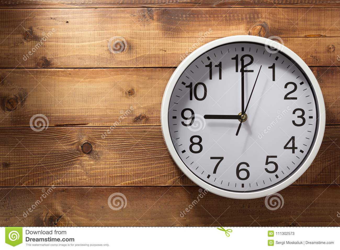 Wall Clock At Wooden Background Stock Image Image Of Child Clock