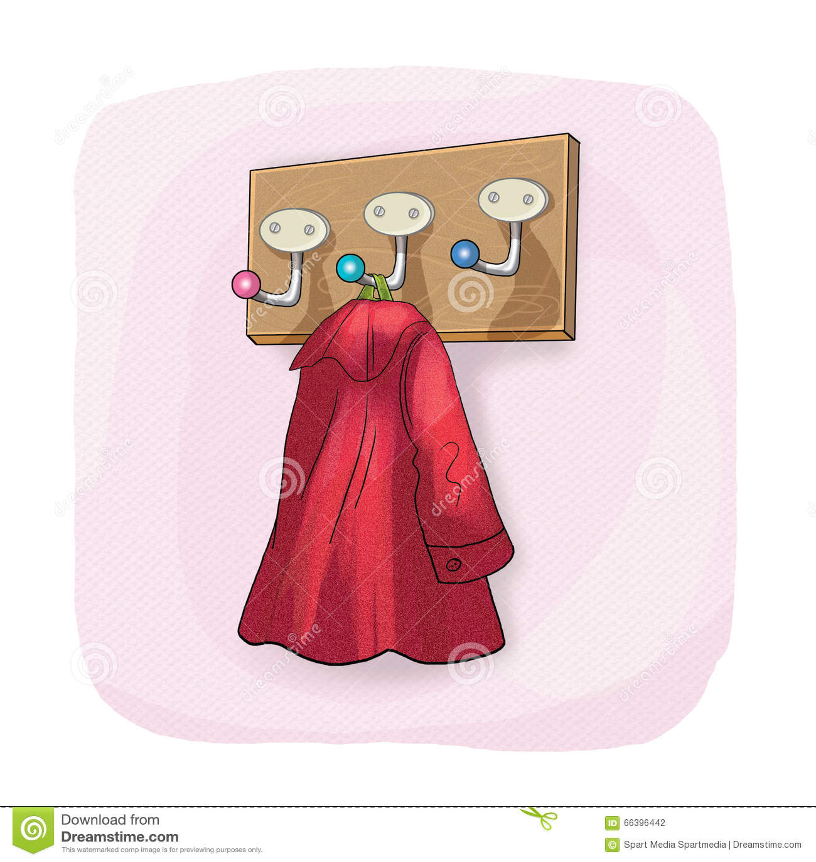 Wall Coat Rack And Coat Hook Stock Illustration Image