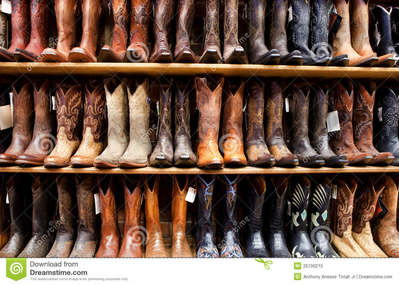 Wall Of Cowboy Boots Royalty Free Stock Photo - Image: 25700215