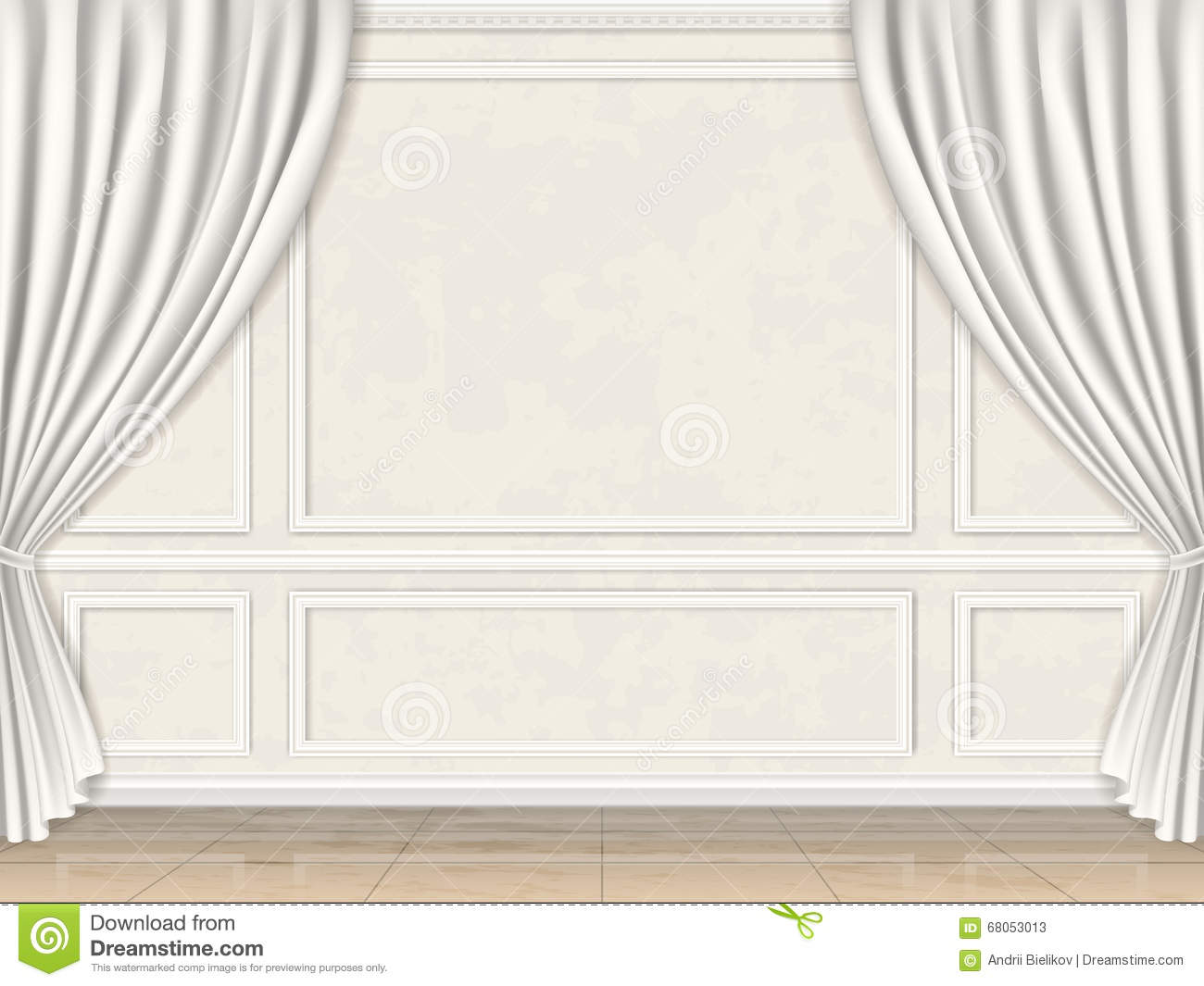 Wall Decorated Panel Mouldings And Curtains Stock Vector - Image ...