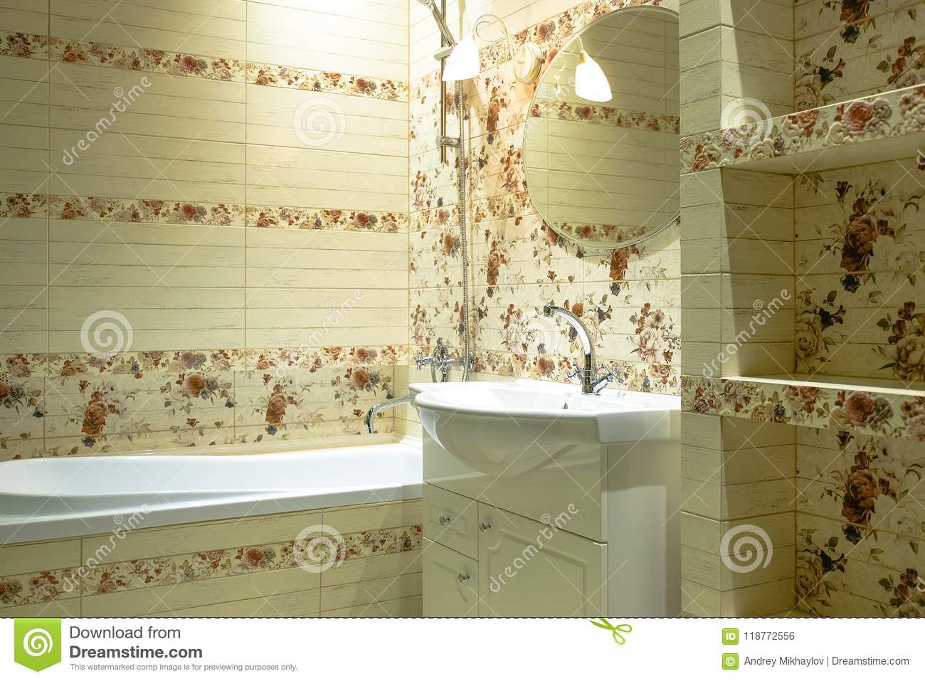 Wall Decoration With Ceramic Tiles In The Bathroom Stock Photo ...