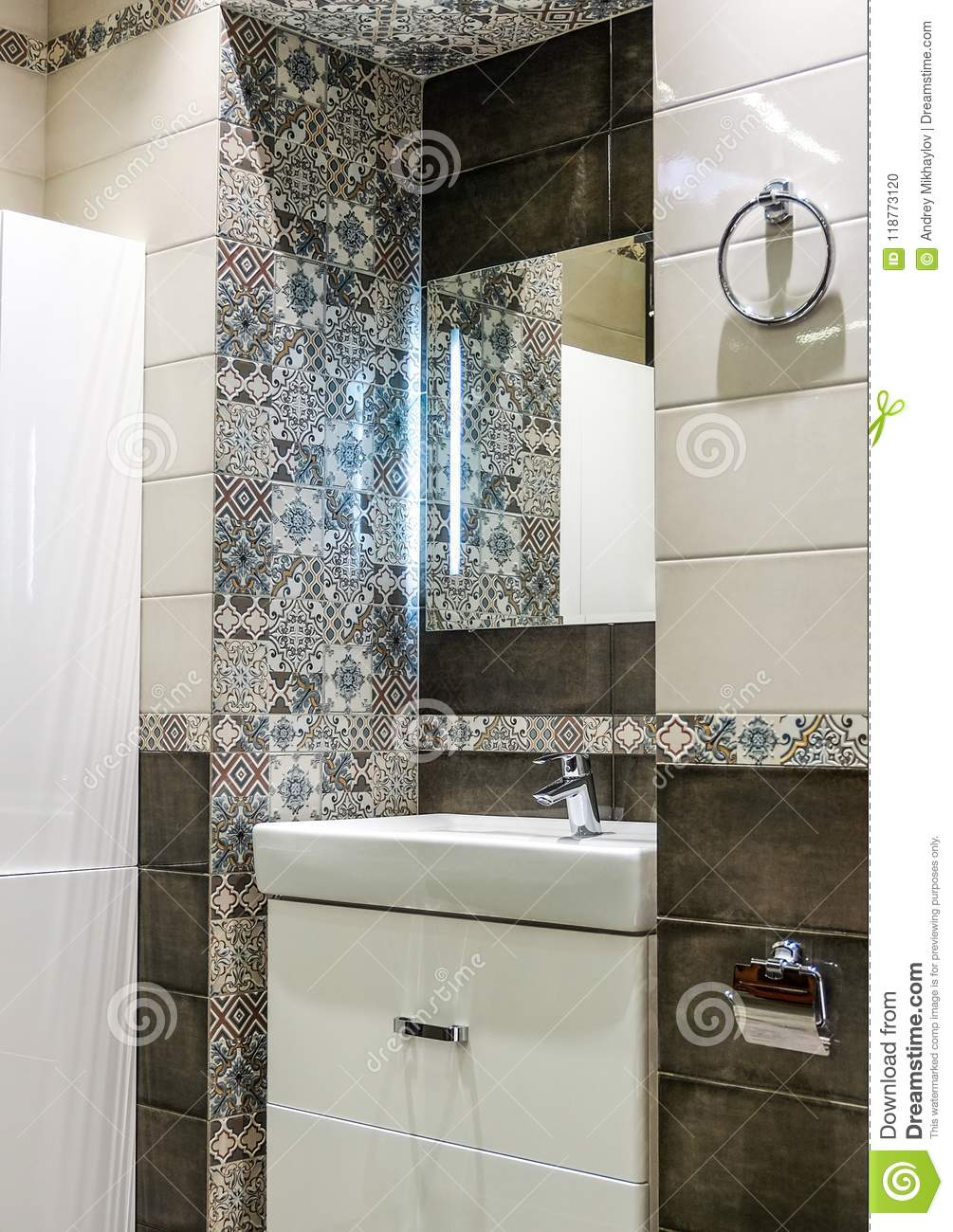 Wall Decoration With Ceramic Tiles In The Bathroom Stock Photo