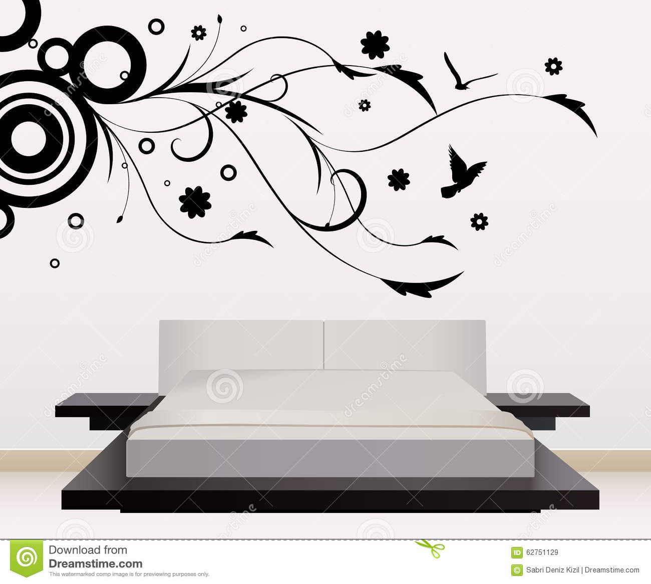 Wall Art Stickers Vector : Wall decoration with floral design stock vector image