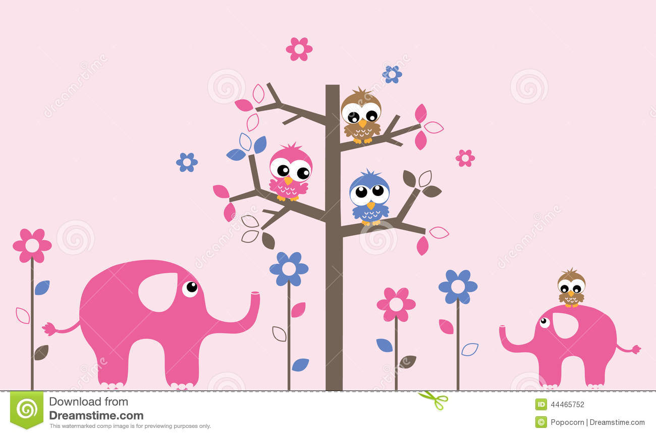 Bird And Tree Wall Stickers Wall Decoration Owls Elephants Stock Vector Image 44465752