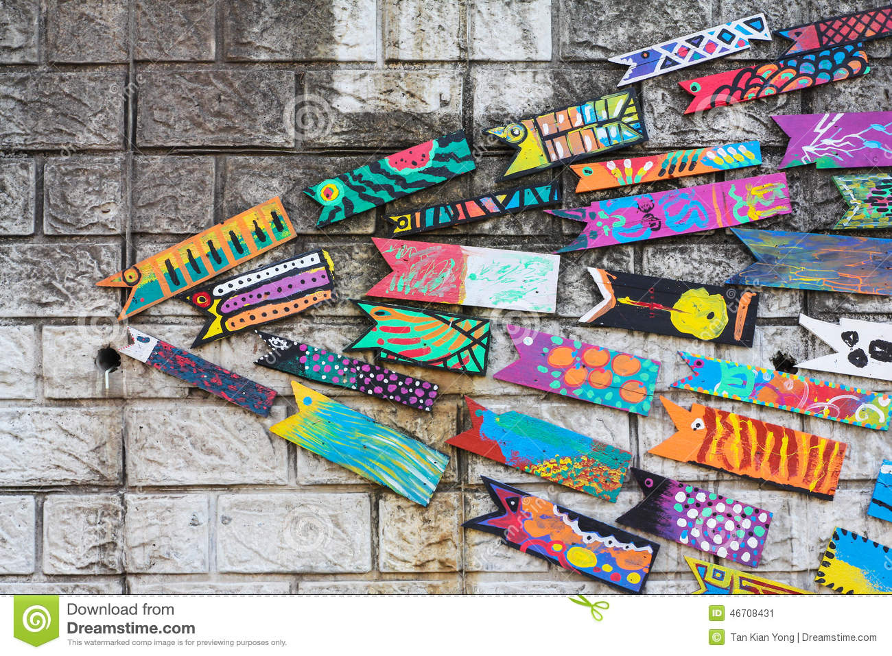 Wall decoration of wooden fish in gamcheon culture village busan editorial stock photo download wall decoration of wooden fish amipublicfo Image collections