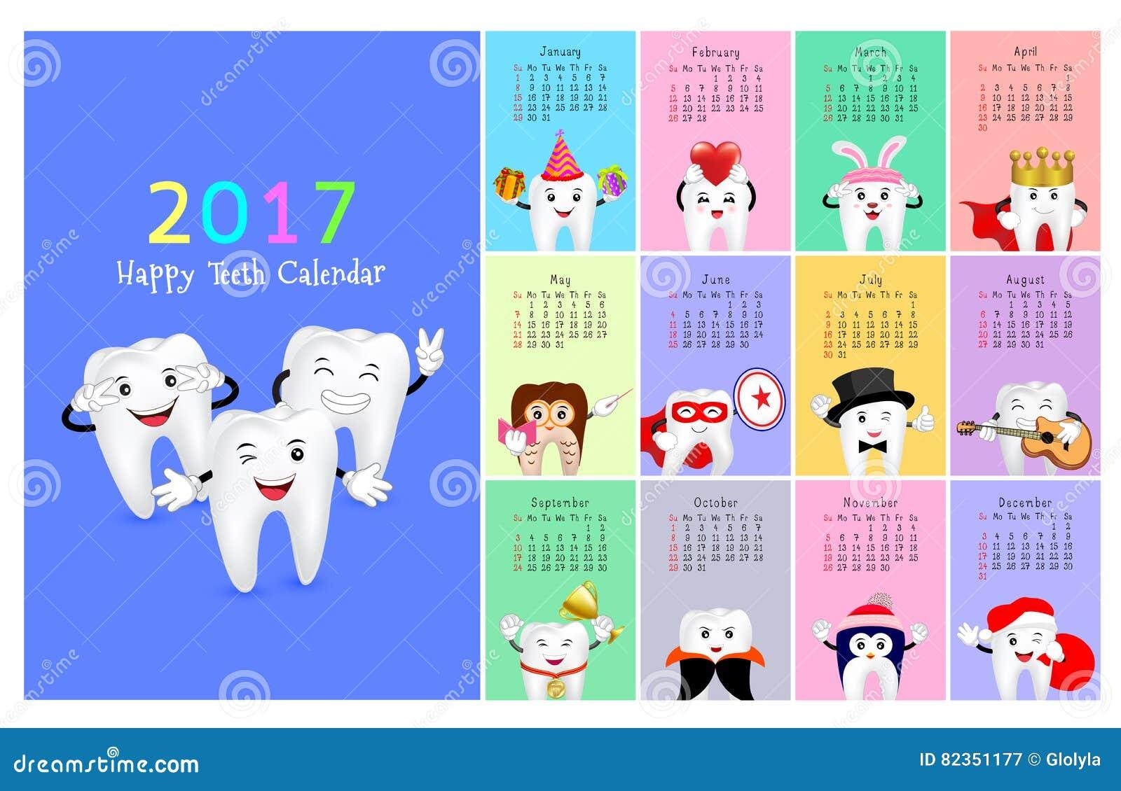 Calendar Year Health Insurance : Wall dental calendar stock vector image