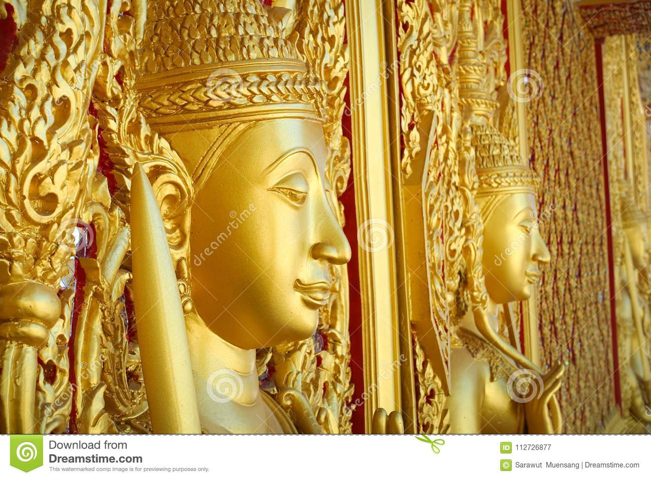 Wall Design Architecture Culture Gold Door Temple Thailand Style Art ...