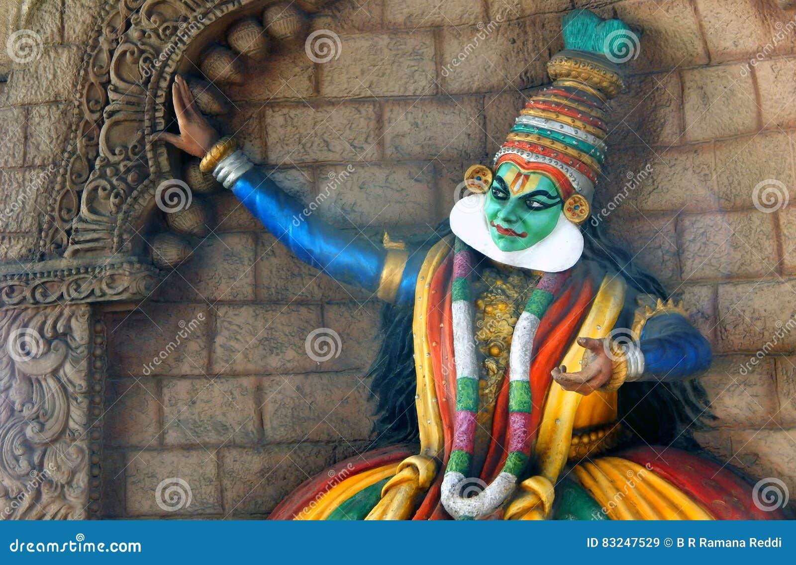 Wall för indierkerala traditionell Kathakali dansare konst