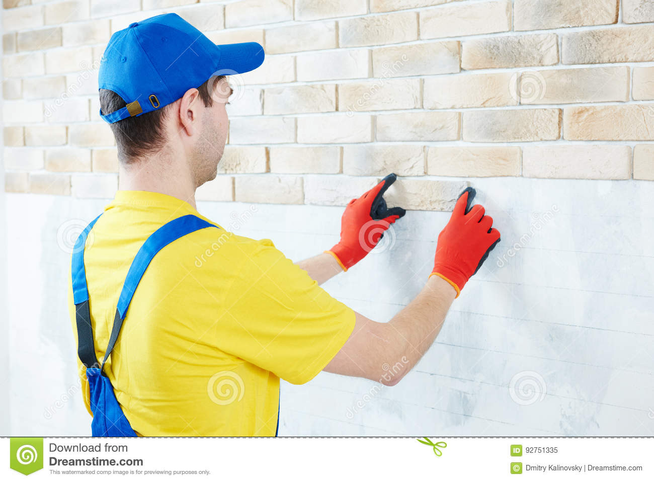 Wall Facing Work With Brick By Professional Bricklayer Worker Stock ...