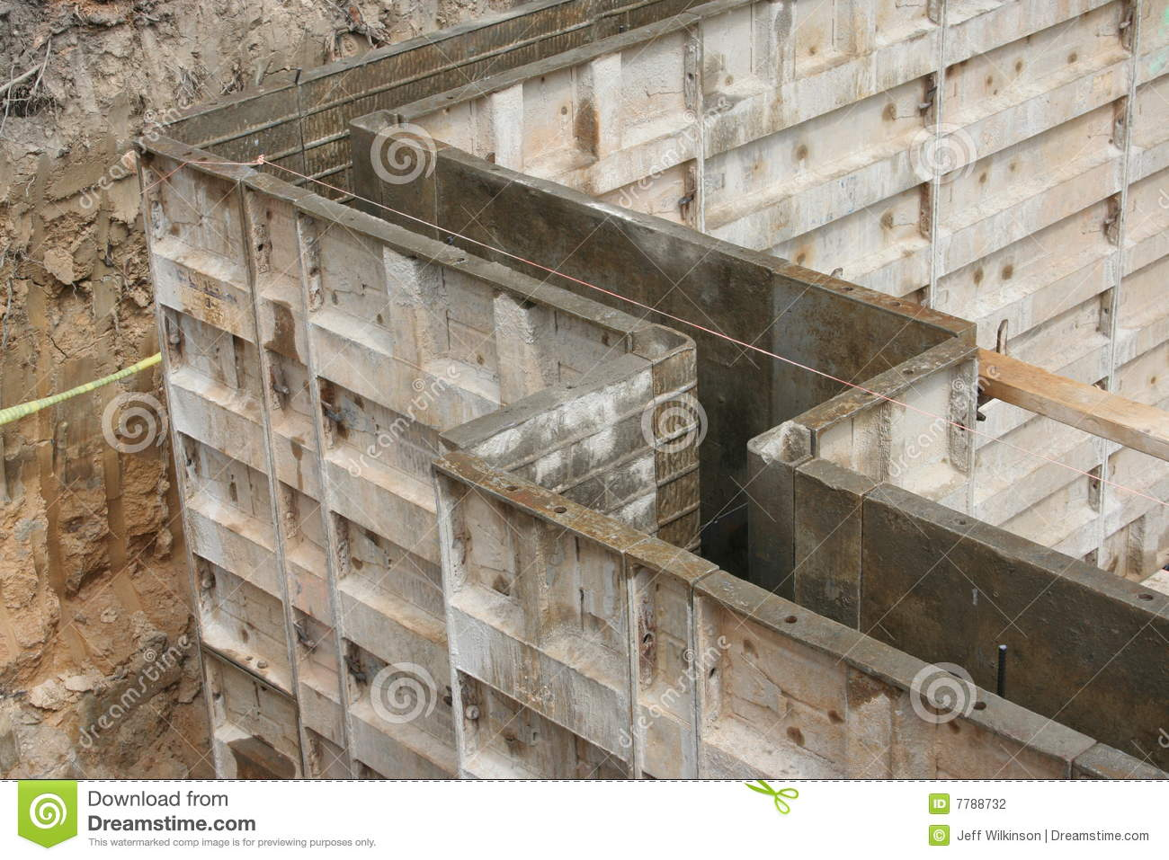 Wall forms molds for concrete stock photo image of for Poured concrete basement walls