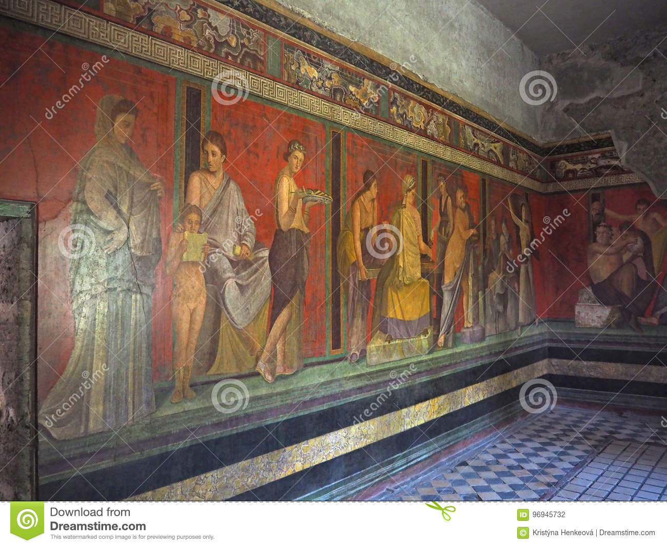 Wall fresco in Pompeii house Villa of the Mysteries, before 79 C
