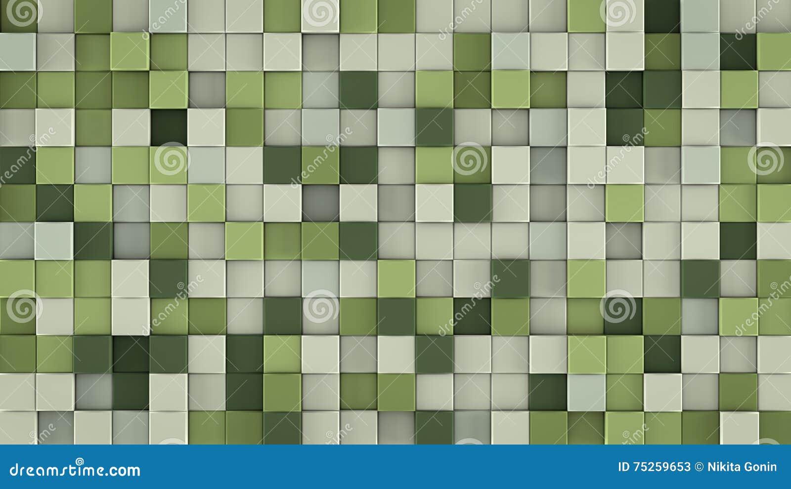 Wall of gentle green cubes 3D render