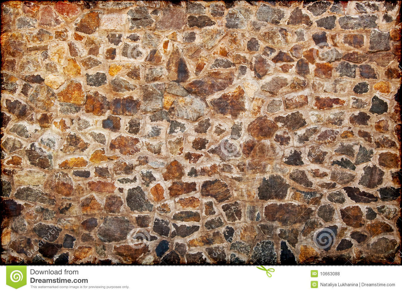 Wall from granite stones