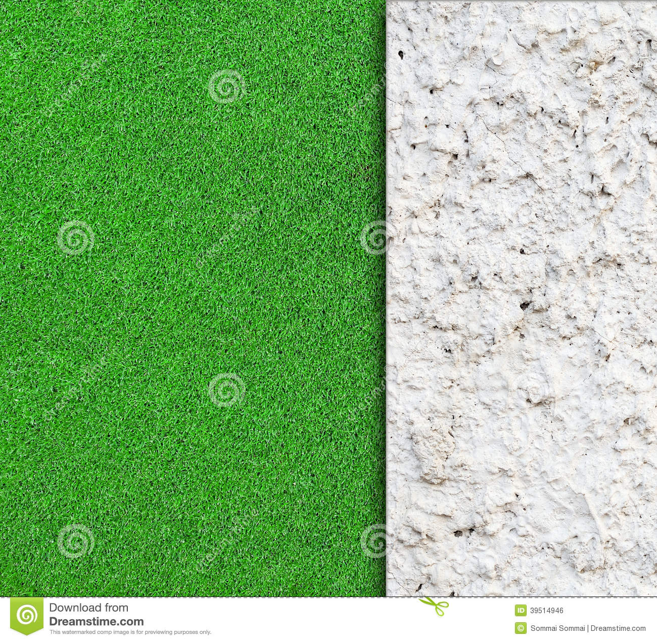 wall with green grass background