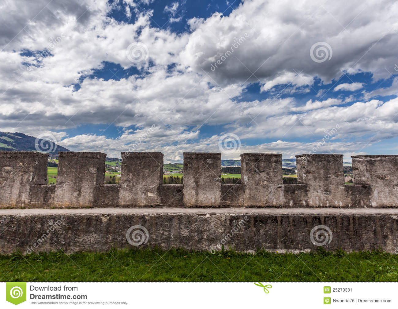 Download Wall of Gruyere Castle stock image. Image of chateau - 25279381