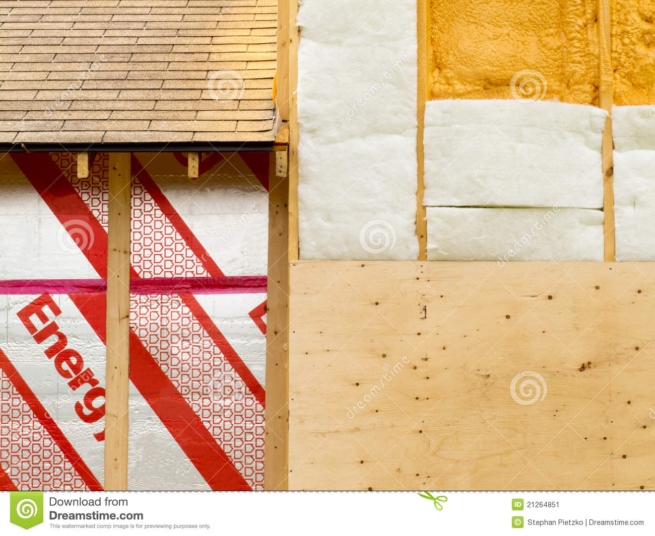 Wall Insulation To Save Heating Energy Stock Image - Image of