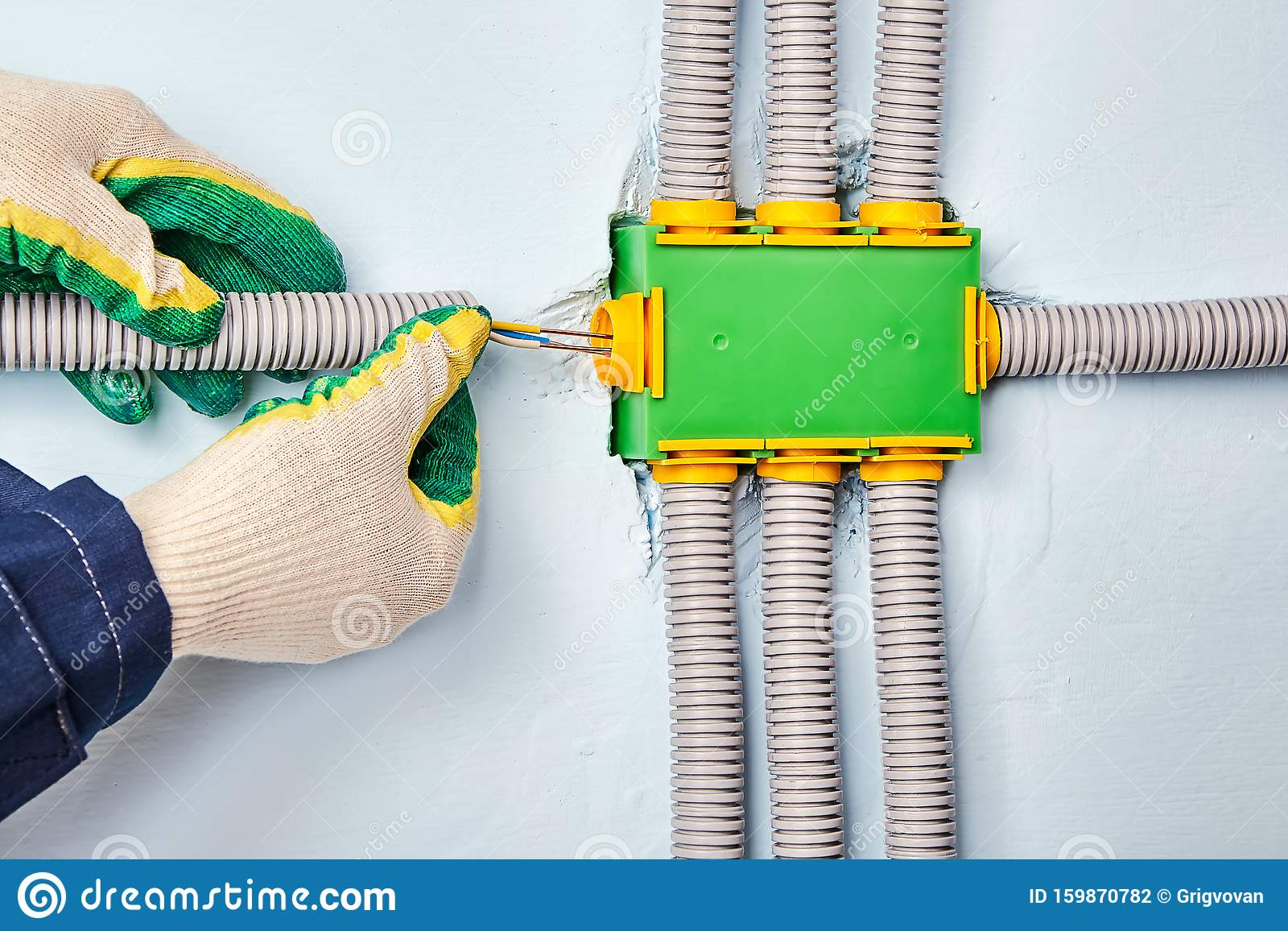 An Electrician Is Wires In Electrical Junction Box Stock Photo Image Of Install Electrical 159870782