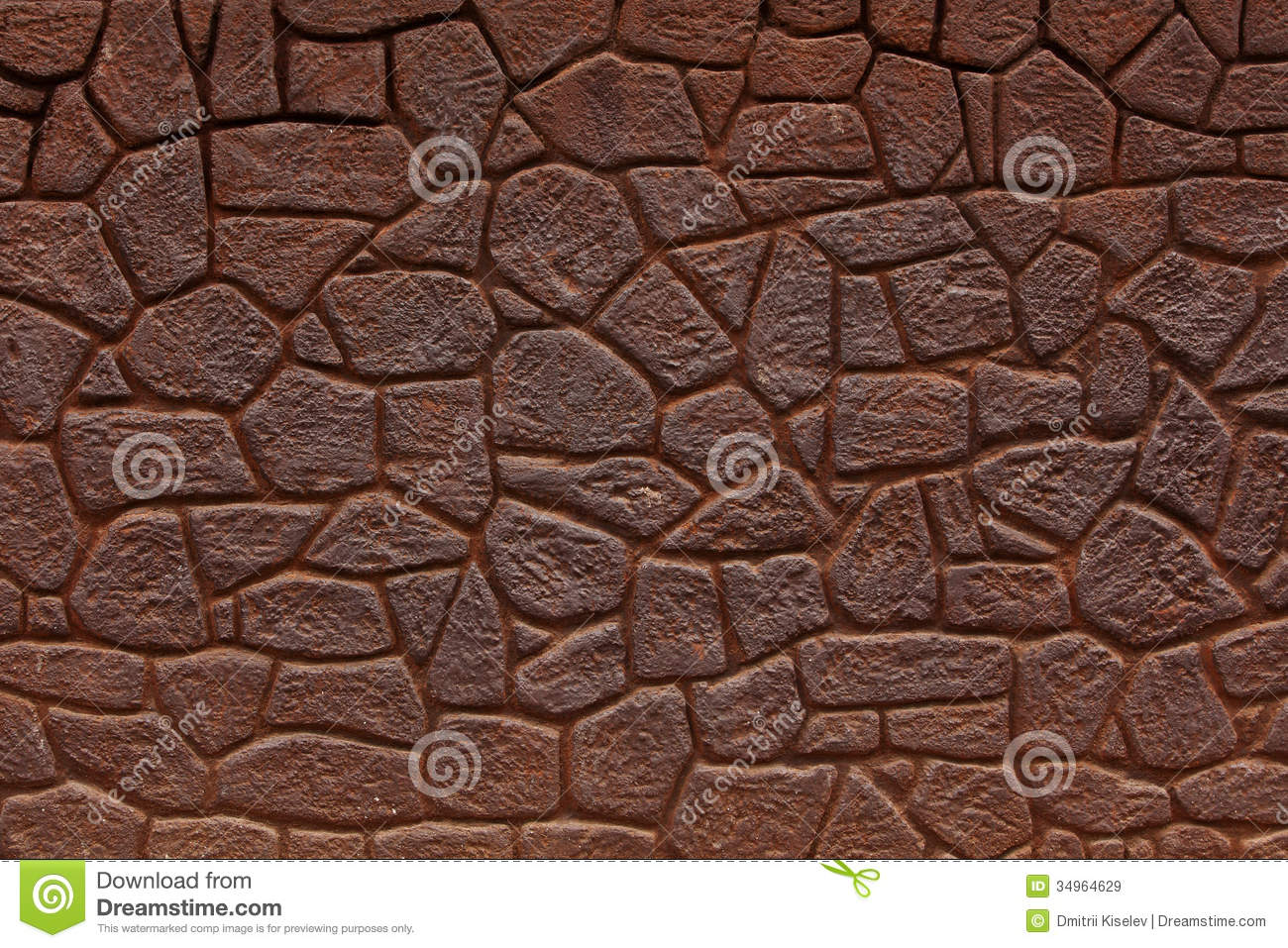 Wall made of bricks color of rusty iron