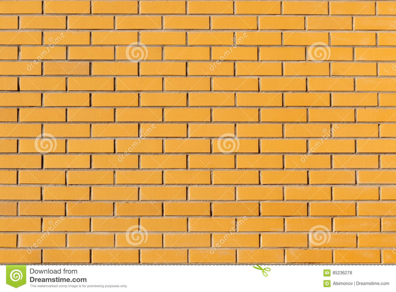 Wall Is Made From A Bright Yellow Ceramic Brick. Stock Photo - Image ...